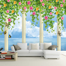 Load image into Gallery viewer, Custom 3D Photo Wallpaper Roman Column Flower Vine Blue Sky Wall Murals For Living Room TV Backdrop Wallpaper Nature Landscape - WallpaperUniversity