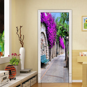 Modern European City Streetscape Purple Flower Mural Living Room Bedroom Door Wall Decoration PVC Waterproof Mural 3D Wallpaper - WallpaperUniversity