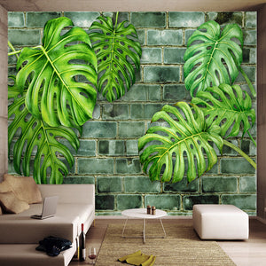 Custom 3D Wall Murals Wallpaper Nordic Hand Painted Plants Green Leaf Brick Wall Papers Home Decor Living Room Wall Decoration - WallpaperUniversity
