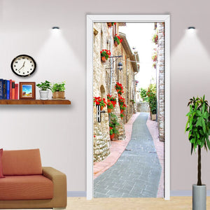 Living Room Bedroom Door Stickers Mural European Style Street View PVC Waterproof Self-adhesive Door Sticker Decor Wallpaper - WallpaperUniversity
