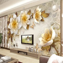 Load image into Gallery viewer, Custom Mural Wall Painting European Style 3D Stereoscopic Embossed Golden Flower Wallpaper Living Room TV Background Decoration - WallpaperUniversity