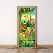 Load image into Gallery viewer, Forest Animal Children Room Bedroom Door Stickers PVC Mural 3D Photo Wallpaper Creative DIY Waterproof Door Sticker Decoration - WallpaperUniversity