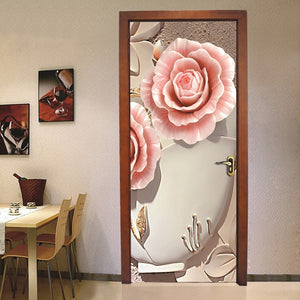 PVC Waterproof Door Sticker Wall Painting Living Room Bedroom Door Decoration 3D Flower Mural Wallpaper Self-adhesive Home Decor - WallpaperUniversity