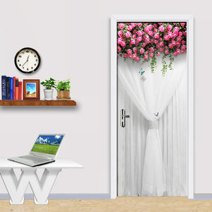 Wedding Rose Girl Bedroom Parlor Door Sticker 3D Wall Paper Mural PVC Waterproof Self-adhesive Door Sticker Papel De Parede - WallpaperUniversity