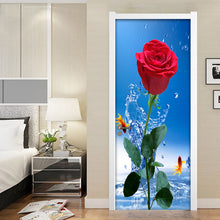 Load image into Gallery viewer, Door Stickers Flower Waterproof Modern Living Room Bedroom Door Wallpaper Self-Adhesive Art Wall Decals Red Rose 3D Wall Sticker - WallpaperUniversity