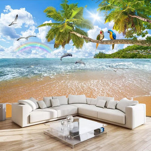 3D Photo Wall Paper Custom Mural Wallpaper Seascape Coconut Tree Parrot Landscape Wall Painting For Living Room TV Background - WallpaperUniversity