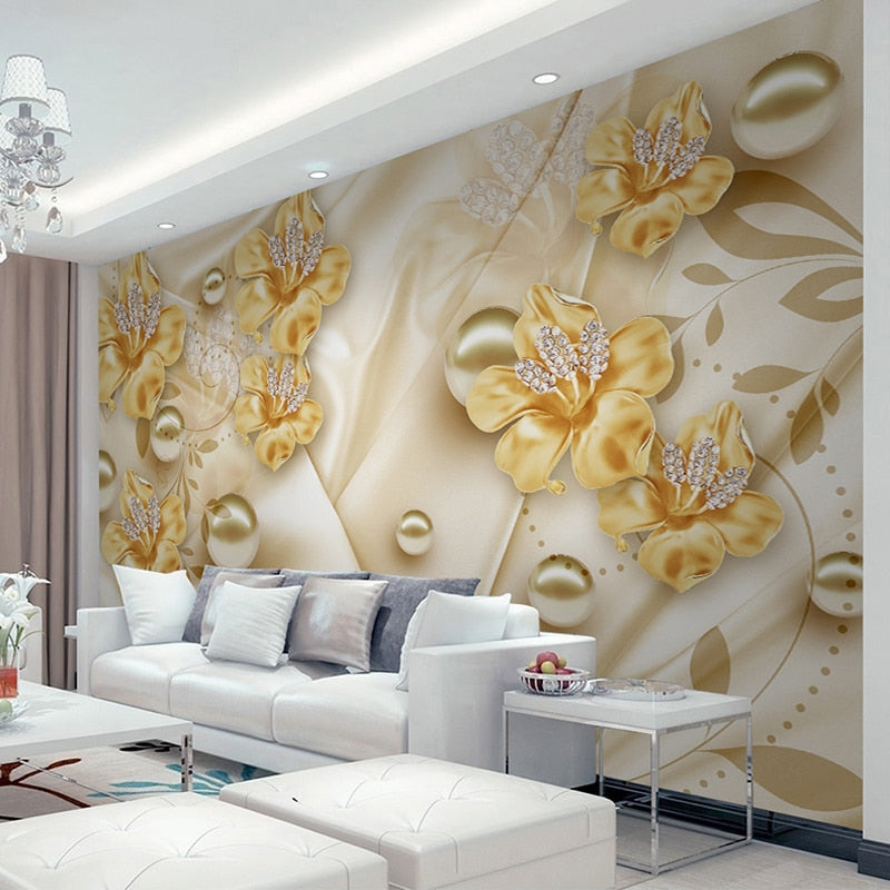 Custom Mural Wallpaper For Walls 3D Diamond Jewelry Flower 3D Wall Painting Art Living Room Sofa TV Background Photo Wall Paper - WallpaperUniversity