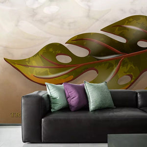 Custom Photo Wall Paper 3D Creative Marble Pattern Banana Leaf Large Mural Living Room Sofa Bedroom TV Background Home Decor - WallpaperUniversity