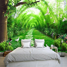 Load image into Gallery viewer, Custom 3D Wall Murals Wallpaper Living Room TV Background Non-woven Straw Wallpaper Green Bamboo Forest Wall Mural Paintings - WallpaperUniversity