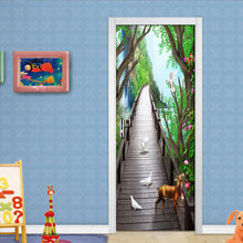 Load image into Gallery viewer, Forest Wooden Bridge Elk Nature Landscape 3D Door Mural Living Room Bedroom Door Fresco Photo Wallpaper Waterproof Door Sticker - vouswall.com
