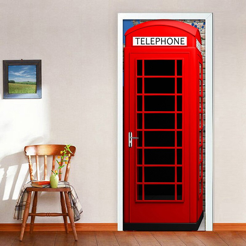 Telephone Booth Mural Wallpaper Creative DIY Living Room Home Decor Poster PVC Waterproof Self-adhesive 3D Door Sticker Decal - WallpaperUniversity