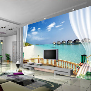 Custom 3D Photo Wallpaper Beach Seaview Large Wall Painting Living Room Sofa Bedroom TV Background Decoration Wallpaper Murale - WallpaperUniversity