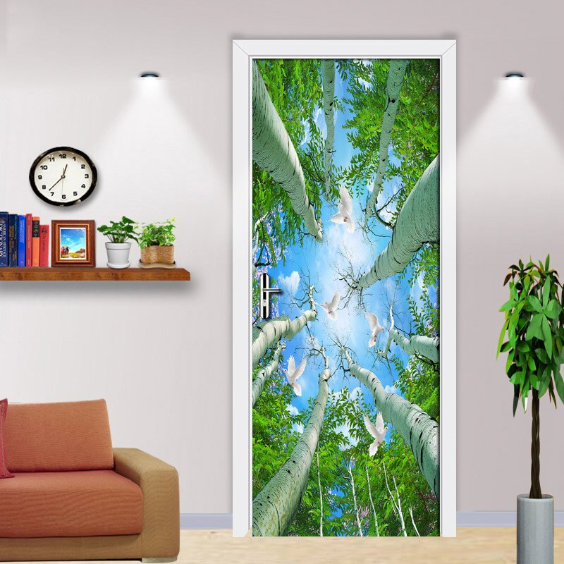 Green Forest Birds Blue Sky Door Mural Wallpaper Living Room Bedroom Door Sticker Background Wall Decorative Wall Paper Roll - WallpaperUniversity
