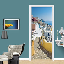 Load image into Gallery viewer, Living Room Bedroom Door Mural Sticker European City Landscape Ladder PVC Waterproof Self-adhesive Door Decoration 3D Wallpaper - vouswall.com