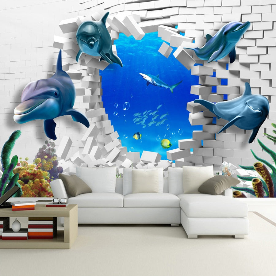 Custom Mural 3D Stereoscopic Dolphin Broken Wall TV Sofa Backdrop Art Mural Painting Living Room Pictures Wallpaper Home Decor - WallpaperUniversity