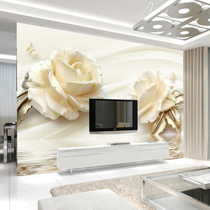 Custom 3D Photo Wallpaper Flower Champagne Rose Modern Romantic Living Room TV Background Mural Non-woven Wallpaper Home Decor - WallpaperUniversity