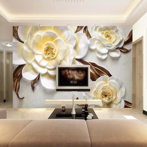 Custom Mural Wallpaper Non-woven 3D Stereoscopic Relief Yellow Flower Bedroom Living Room Sofa TV Background Papel De Parede 3D - WallpaperUniversity