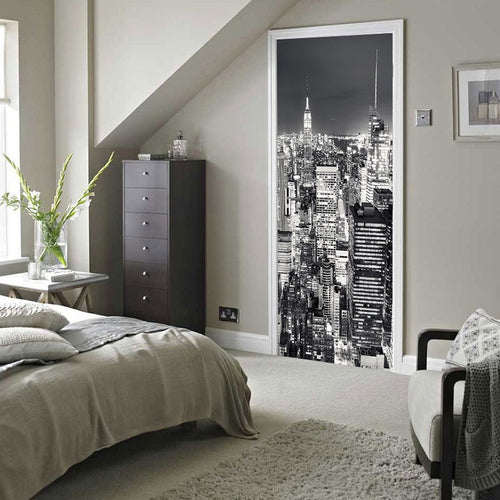 CITY AT MIDNIGHT Door Mural - WallpaperUniversity