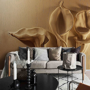 Custon Any Size 3D Wallpaper Gold Emboss Calla Lily Modern Abstract Art Mural Living Room Bedroom Decoration Waterproof Tapety - WallpaperUniversity