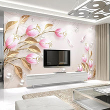 Load image into Gallery viewer, Custom Photo Wallpaper Wall 3D Stereoscopic Embossed Flowers Modern Living Room Sofa TV Background Wall Mural Wall Paper Bedroom - WallpaperUniversity