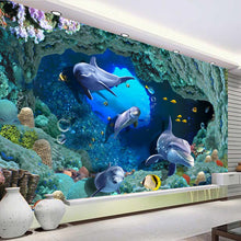 Load image into Gallery viewer, Custom 3D Flooring Photo Wallpaper Dolphin Undersea Cave Stereo PVC Self-adhesive Mural Vinyl Floor Decor Wallpaper Waterproof - WallpaperUniversity