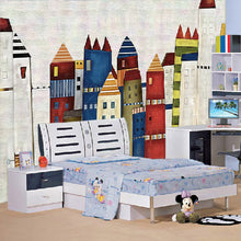 Load image into Gallery viewer, Custom Mural Wallpaper Mediterranean Painted 3D Cartoon Castle Children's Room Bedroom Restaurant Non-woven Background Wallpaper - WallpaperUniversity