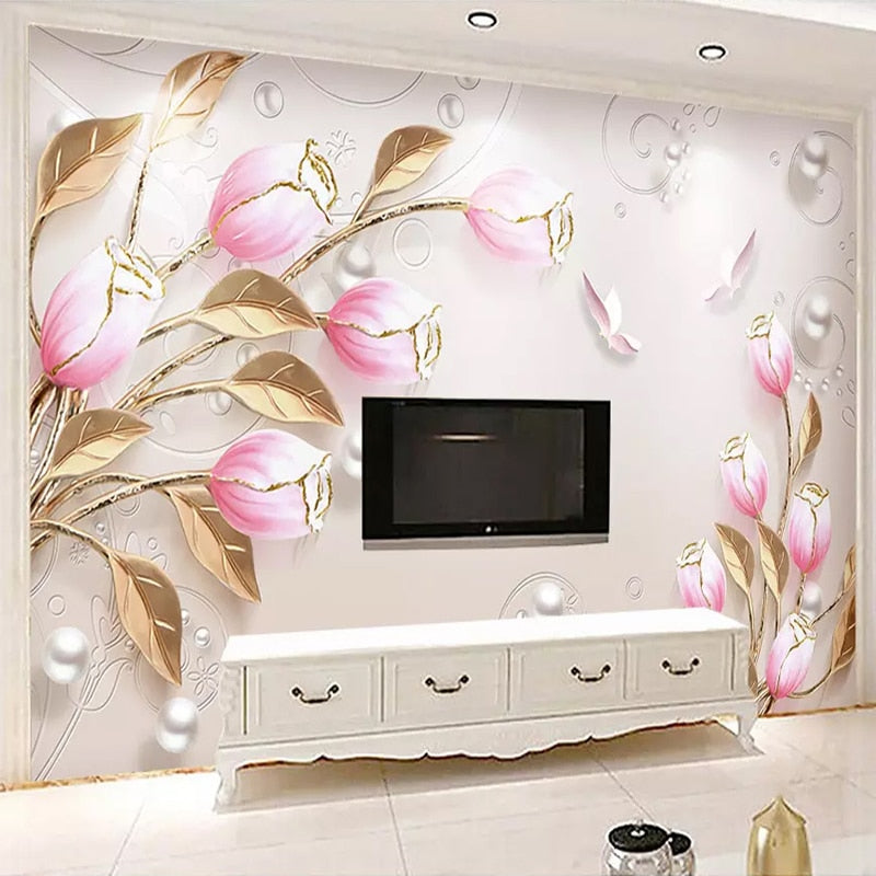 Custom Photo Wallpaper Wall 3D Stereoscopic Embossed Flowers Modern Living Room Sofa TV Background Wall Mural Wall Paper Bedroom - WallpaperUniversity