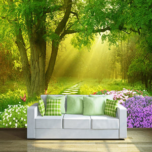 Custom Photo Mural Wallpaper Non-woven Wallpapers For Living Room Flowers Butterflies Forest Small Road Home Decor Wall Paper 3D - WallpaperUniversity