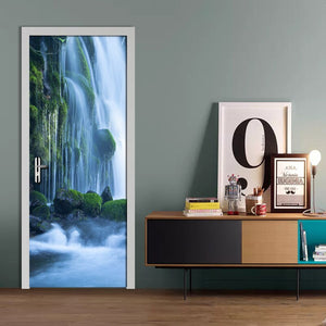 Modern Minimalist Living Room Door Decoration Forest Waterfall Nature Landscape Sticker Mural PVC Self-Adhesive Photo Wallpaper - WallpaperUniversity