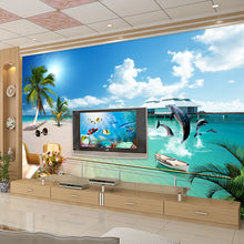 Load image into Gallery viewer, Custom 3D Photo Wallpaper Mediterranean Beach Large Wall Murals Living Room TV Background Home Wallpaper Decor Mural Wall Paper - WallpaperUniversity