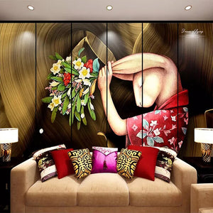 Custom 3D Wall Murals Wallpaper Art Abstract Rabbit Hand Painted Character Oil Painting Wallpaper For Bedroom Wall Decor Mural - WallpaperUniversity