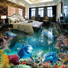 Load image into Gallery viewer, Custom 3D Floor Painting Mural Photo Wallpaper Underwater World Dolphin Living Room Bathroom PVC Waterproof Papel De Parede 3D - WallpaperUniversity
