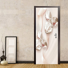 Load image into Gallery viewer, Pink Ribbon Crystal Swan Jewelry Leaves 3D Photo Wallpaper Home Decor Modern Living Room Bedroom Door Sticker PVC Mural Sticker - WallpaperUniversity