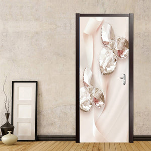 Pink Ribbon Crystal Swan Jewelry Leaves 3D Photo Wallpaper Home Decor Modern Living Room Bedroom Door Sticker PVC Mural Sticker - WallpaperUniversity