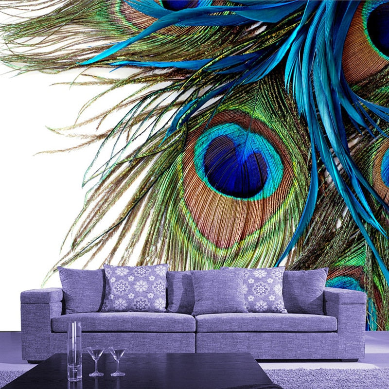 Custom 3D Large Mural Bedroom Living Room Sofa TV Background Wallpaper Printing Blue Peacock Feathers Non-woven Photo Wallpaper - WallpaperUniversity