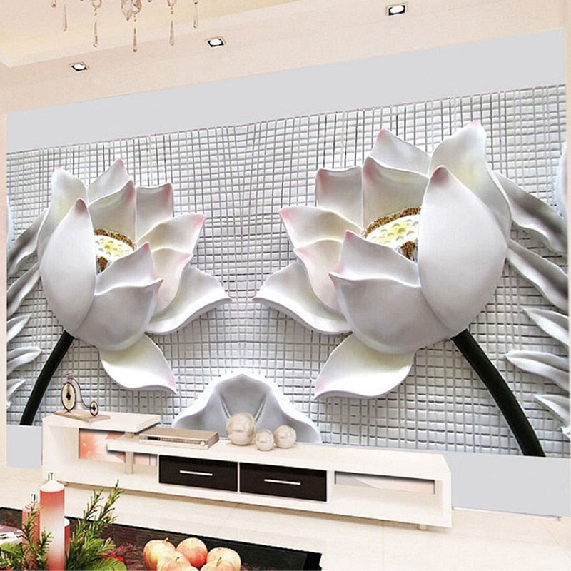 Custom Any Size 3D Wall Murals Wallpaper Modern 3D Stereo Relief Lotus Flower Photo Wallpaper For Living Room Sofa TV Background - WallpaperUniversity