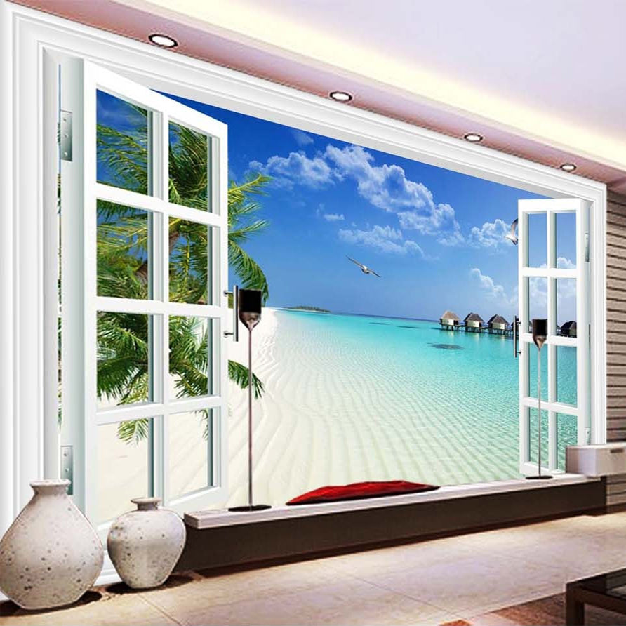 Custom Mural Mediterranean Window Scenery Photography Background Home Wallpaper Wall Decor Living Room 3D Wall Murals Wallpaper - WallpaperUniversity