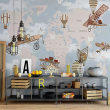 Load image into Gallery viewer, Custom Murals Non-woven Wallpaper Children's Room Background Mural Retro Hand-painted spaceship Sky Cartoon Theme 3D Wallpaper - WallpaperUniversity
