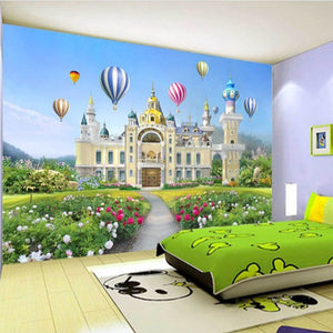 Customize Any Size Photo Beautiful Girl Little Princess Fantasy Castle Waterproof Mural Decoration Children Room Mural Wallpaper - WallpaperUniversity