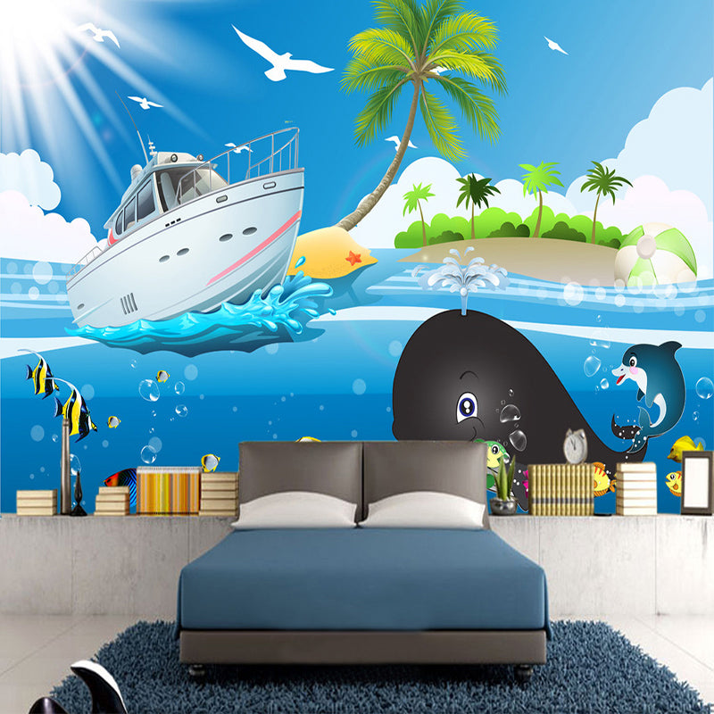 Custom Wall Painting Wallpaper Cartoon Blue Sky Sea Fish Boat Photo Mural Wallpaper For Kids Room Bedroom Walls Mural De Parede - WallpaperUniversity