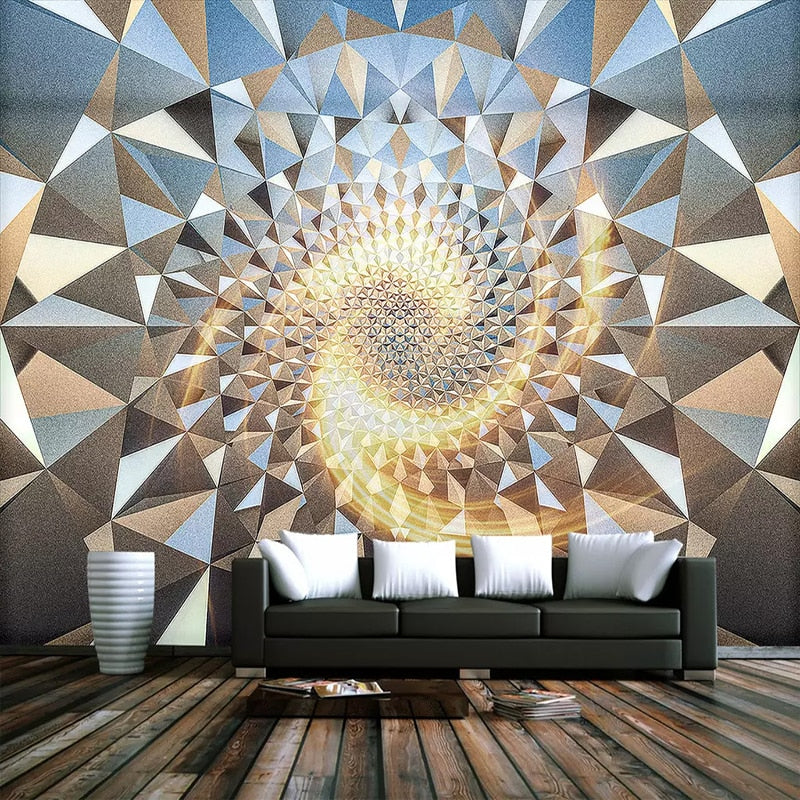 Custom Mural Wallpaper 3D Stereoscopic Space Abstract Geometric Pattern KTV Bar Photo Wallpaper For Living Room Bedroom Walls 3D - WallpaperUniversity