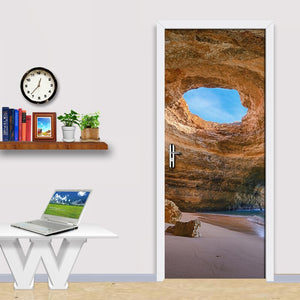 Rock Cave Seascape 3D Wallpaper Living Room Bedroom Door Decoration PVC Self Adhesive Waterproof Wall Sticker DIY Mural Tapety - WallpaperUniversity