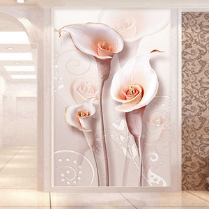 Custom 3D Photo Wallpaper Relief Stereoscopic Lily Flower Living Room Entrance Wall Decoration Painting Mural Wallpaper Modern - WallpaperUniversity