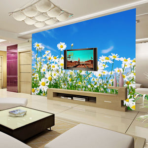 Custom Photo Wallpaper 3D Daisy Bedroom Living Room TV Background Mural Wallpaper Non-woven Modern Large Wall Painting Flowers - WallpaperUniversity