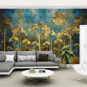 Custom Mural Wall Painting Chinese Style Abstract Golden Forest Tree Bird Deer Photo Wallpaper Living Room Sofa Bedroom Wall Art - WallpaperUniversity