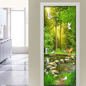 Creative DIY Self-adhesive PVC Door Sticker Home Decor Wall Decals Wallpaper 3D Green Tree Creek Bedroom Living Room Door Mural - WallpaperUniversity