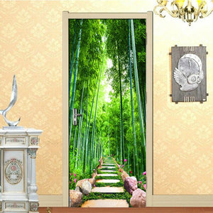 Green Bamboo Path 3D Photo Wallpaper Home Decor Modern Living Room Bedroom Door Stickers PVC Mural Sticker Waterproof Wallpaper - WallpaperUniversity
