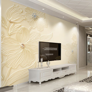 Custom Mural Wallpaper High Quality Diamond Flower Pattern 3D Relief Modern Simple Living Room TV Background Wall Painting Paper - WallpaperUniversity
