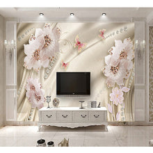 Load image into Gallery viewer, Custom 3D Photo Wallpaper Luxury Jewelry Flower Butterfly TV Background Wall Mural Wallpaper For Living Room Bedroom Home Decor - WallpaperUniversity