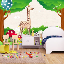 Load image into Gallery viewer, Custom 3D Photo Wallpaper Green Forest Cartoon Animal Kingdom Wall Decoration Kids Room Bedroom Background Wall Mural Wallpaper - WallpaperUniversity